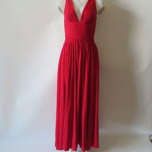 BCBGMAXAZRIA RED RUCHED HALTER TOP MAXI DRESS XS